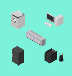 isometric business set of scanner desk file rack vector image
