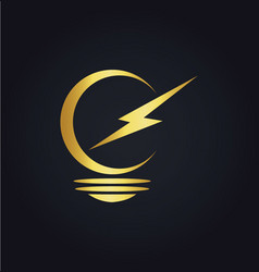 Lightbulb electric gold logo vector