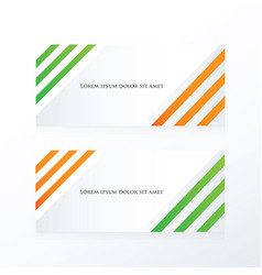 Line abstract banner orange green vector