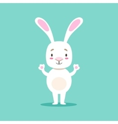 Little Girly Cute White Pet Bunny Standing vector image