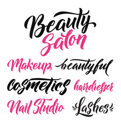 Logo beauty salon lettering custom handmade vector