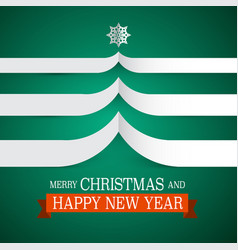 merry christmas card with paper tree and vector image