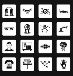 New technologies icons set squares vector