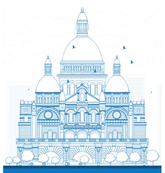 Outline Basilica of the Sacred Heart Paris vector image vector image