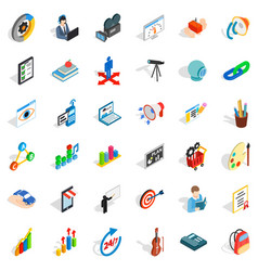 Palette icons set isometric style vector