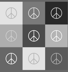 peace sign grayscale version vector image