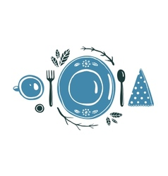Place setting design with plate spoon fork and cup vector
