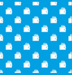 purse with money pattern seamless blue vector image vector image