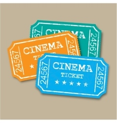 Realistic retro paper cinema tickets vector image