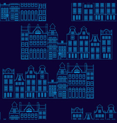 seamless pattern with amsterdam houses outline vector image