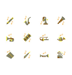 stylish flat design wind instruments icons vector image
