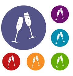Two glasses of champagne icons set vector