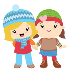 two little girls holding hands vector image