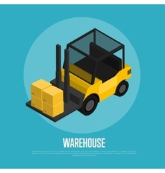 Warehouse banner with forklift truck vector