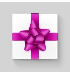 White square gift box with dark pink ribbon bow vector
