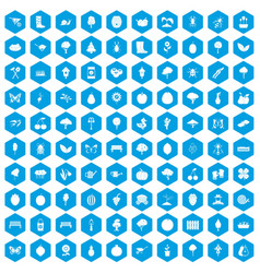 100 gardening icons set blue vector