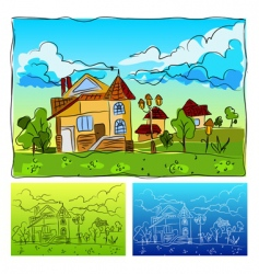 Landscape drawing vector