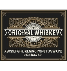 Vintage whiskey label typeface with decorative vector