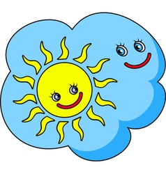 Funny image the cloud and sun vector