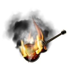 Jazz guitar in the fire and smoke vector
