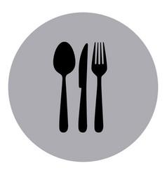 blue emblem metal cutlery icon vector image