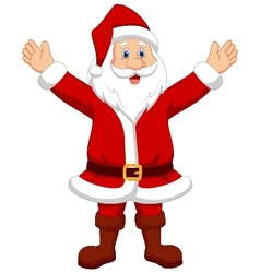Happy santa cartoon waving hand vector