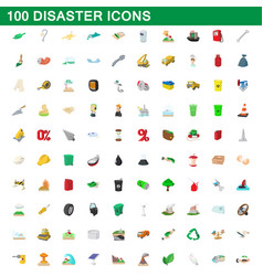 100 disaster icons set cartoon style vector image