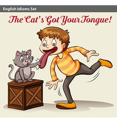 A cat touching a boys tongue vector
