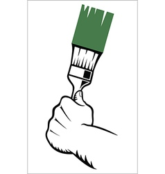 Hand with paint brush vector
