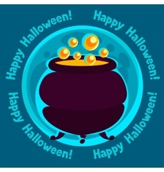 Happy halloween greeting card with moon and pot of vector
