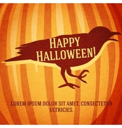 Happy halloween greeting card with raven carved in vector
