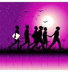 children at night vector image