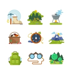 Flat camping outdoor icons vector