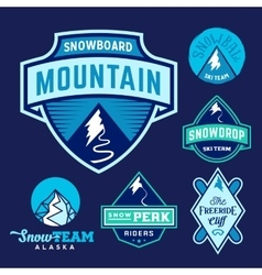 Set of ski snowboard snow mountains sport logos or vector