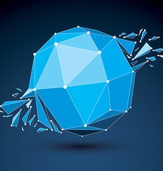 3d low poly object with blue connected lines and vector