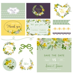 Scrapbook design elements - wedding spring flower vector