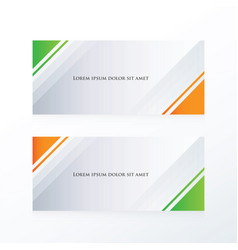 Abstract banner triangle orange green vector