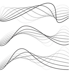 abstract curves dotted lines black and white vector image vector image