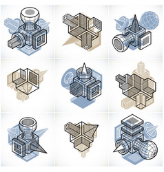 abstract set isometric dimensional shapes vector image vector image