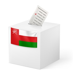 Ballot box with voting paper oman vector