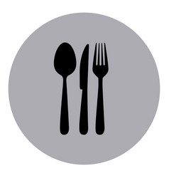 Blue emblem metal cutlery icon vector