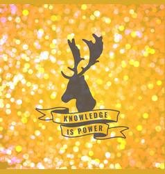 Bokeh background with deer emblem vector