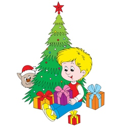 Boy with christmas gifts vector