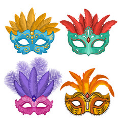 colored pictures of carnival or theatre masks with vector image