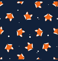 cute foxes seamless pattern vector image vector image