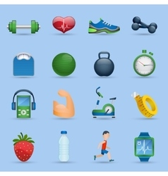 Fitness icons set vector image