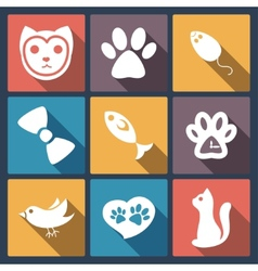 Flat cat icons set pet application icon in flat vector image vector image