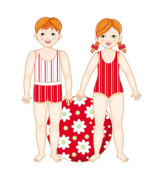 flat redhead boy and girl kids in swimsuit vector image