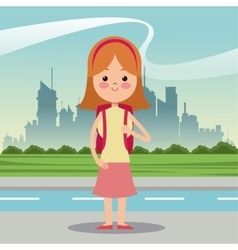 Girl diadem bag student urban background vector