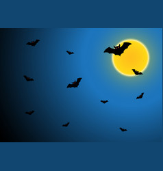 Halloween bat fly with moon and sky vector
